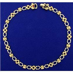 Italian Made Horseshoe and Heart Link Necklace in 14K Yellow and White Gold