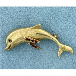 Sapphire and Ruby Dolphin Pin in 14K Yellow Gold