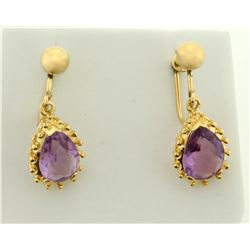 Screw Back 4ct TW Amethyst Dangle Earrings in 14k Gold for Non-Pierced Ears