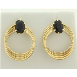 2ct TW Sapphire Gold Earrings in 14K Yellow Gold