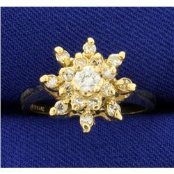 1/2ct TW Starburst Diamond Ring in 14K Yellow Gold