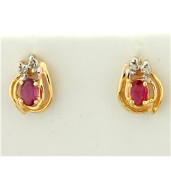 Natural Ruby and Diamond Earrings in 14K Yellow Gold