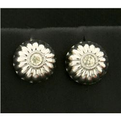 Button Style White Sapphire Earrings in 14K White Gold