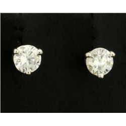 1/2ct TW Diamond Stud Earrings in Platinum Basket Setting