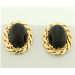12ct TW Onyx Earrings in 14K Yellow Gold