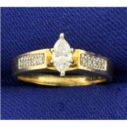Over 1/3ct TW Marquise and Round Diamond Engagement Ring in 14K Yellow Gold