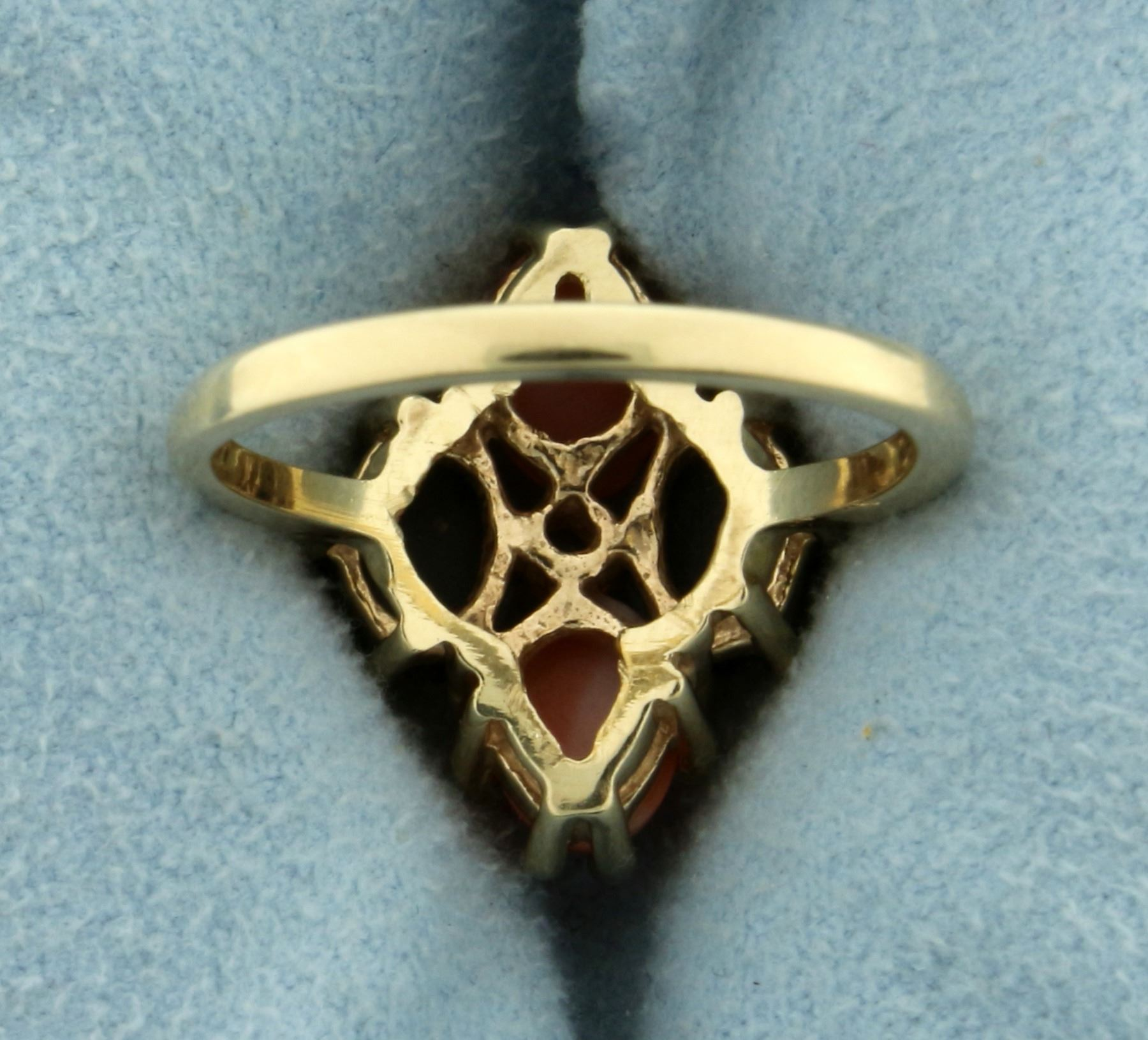 Synthetic Pink and Black Coral and White Sapphire Ring in