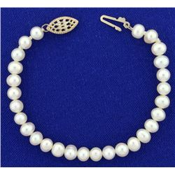 6 Inch Cultured Pearl Bracelet with Sterling Silver Clasp