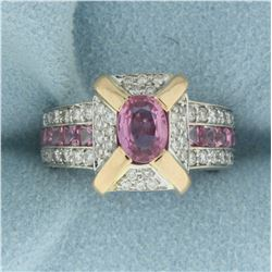 Natural Pink Sapphire and Diamond Ring in 18K Yellow and White Gold