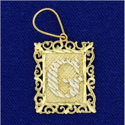 "Diamond Cut Monogrammed Initial ""G"" Pendant in 14K Yellow Gold"