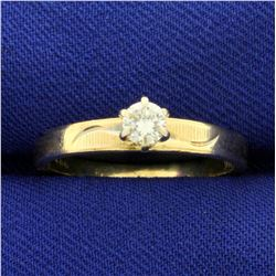 1/5ct Solitaire Diamond Engagement Ring in 14K Yellow Gold