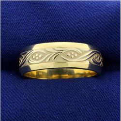 Nature Design Band Ring in 14K Yellow and White Gold