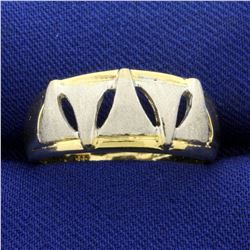 Art Deco Triangle Ring in 14K Yellow and White Gold