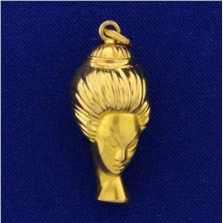 Vintage Asian or Geisha Woman Head Pendant in 18K Yellow Gold