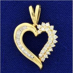 1/2ct TW Baguette and Round Diamond Heart Pendant in 14K Yellow Gold