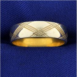 Criss Cross Pattern Band Ring in 14K White Gold