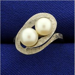 Two Cultured Pearl Ring in 10K White Gold