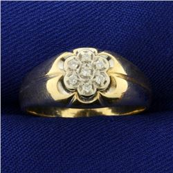 Diamond Flower Design Ring in 10K Yellow Gold