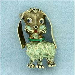 Vintage Enameled Schnauzer Dog Pin in 14K Yellow Gold