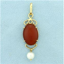 Over 14ct Cabochon Citrine and Pearl Pendant in 14K Yellow Gold