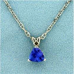 1.5ct Natural Tanzanite Pendant and Anchor Link Chain in 14K White Gold