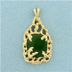 Jade Pendant in 14K Yellow Gold
