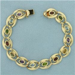 Multi-Colored Semi-Precious Gemstone Bracelet in 14K Yellow Gold