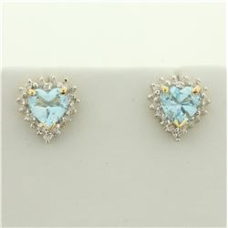 Sky Blue Topaz and Diamond Heart Earrings in 14K Yellow Gold