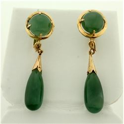 Vintage Dangle Jade Screw back Earrings in 14K Yellow Gold