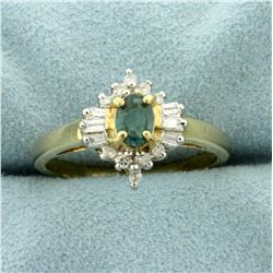 Lab Alexandrite Ring with Round and Baguette Diamonds in 10K Yellow Gold