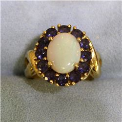 Large Natural Opal and Lab Tanzanite Ring in 10K Yellow Gold