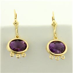 6ct TW Amethyst Dangle Earrings in 14K Yellow Gold