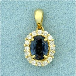 Natural 1ct Alexandrite and Diamond Pendant in 14K Yellow Gold