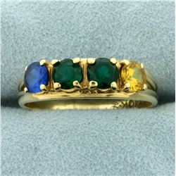 Multi-Colored Spinel Gemstone Ring in 10K Yellow Gold