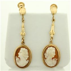 Dangle Cameo Earrings in 10K Yellow Gold with Screw Backs