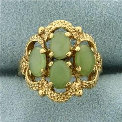Natural Jade Ring in 10K Yellow Gold