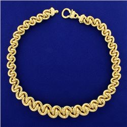 Italian Made Large Tapering Twisted Loop Link Neck Chain in 14K Yellow Gold