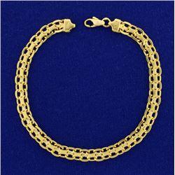 7 1/2 Inch Italian Made Designer Link Bracelet in 18K Yellow Gold