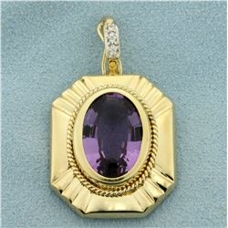 10ct Amethyst Pendant with Diamonds in 14K Yellow Gold