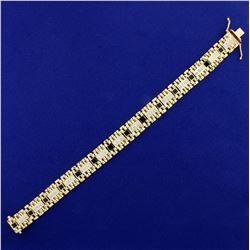 Heavy Men's 8 1/2 Inch 2ct Diamond and Onyx Jubilee Style Bracelet in 14K Yellow Gold