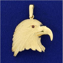 Bald Eagle Head Pendant with Ruby Eye in 14K Yellow Gold
