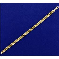 Designer Double Strand Geometric Rope Style Bracelet in 14K Yellow Gold