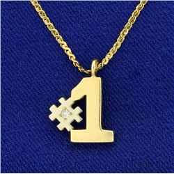 Italian Made Diamond #1 Pendant and S-Link Chain in 14K Yellow Gold