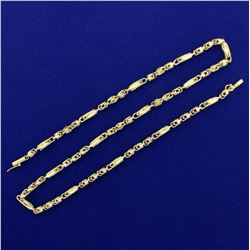 18 Inch Diamond Cut Designer Link Necklace in 14K Yellow Gold
