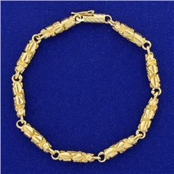 7 Inch Gold Nugget Style Bracelet in 14K Yellow Gold