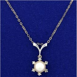 Akoya Pearl and Diamond Pendant in 14K White Gold Setting on Sterling Silver Chain
