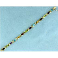 7 Inch Rainbow Semi-Precious Gemstone Bracelet in 14K Yellow Gold