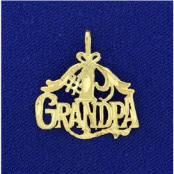 Number One Grandpa Pendant in 14K Yellow Gold
