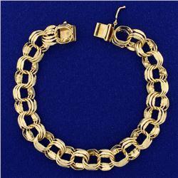 7 1/4 Inch Triple Loop Charm Bracelet in 14K Yellow Gold
