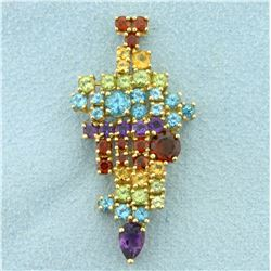 Rainbow Colored Semi Precious Gemstone Pendant in 10K Yellow Gold